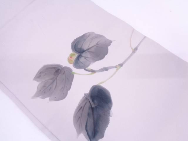 リサイクル 熊谷好博子 手描き草葉に蕾模様開き名古屋帯(額縁仕立て)【送料無料】