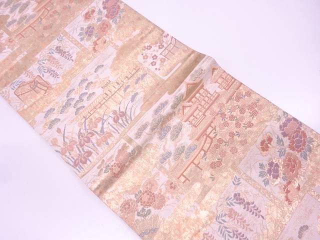 リサイクル 純金二重引箔寺院風景模様織出し袋帯【送料無料】