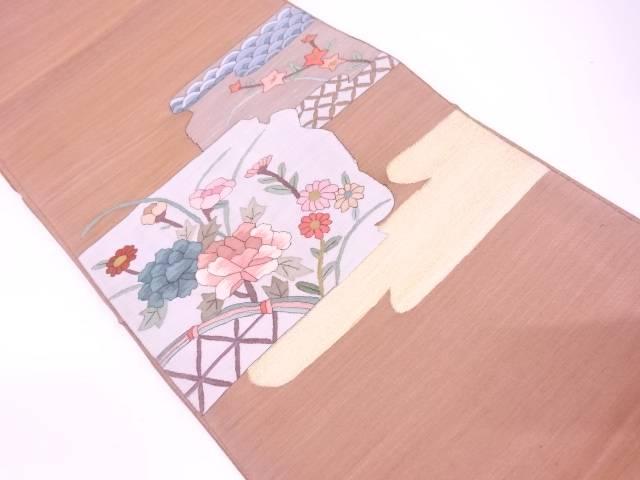 リサイクル すくい織光悦垣に草花・古典柄模様織出し袋帯【送料無料】