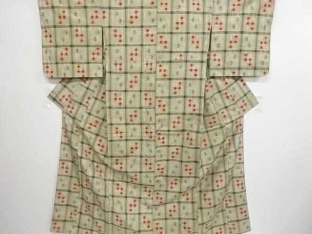 リサイクル 未使用品 格子に琉球絣柄織り出し手織り真綿紬着物【送料無料】