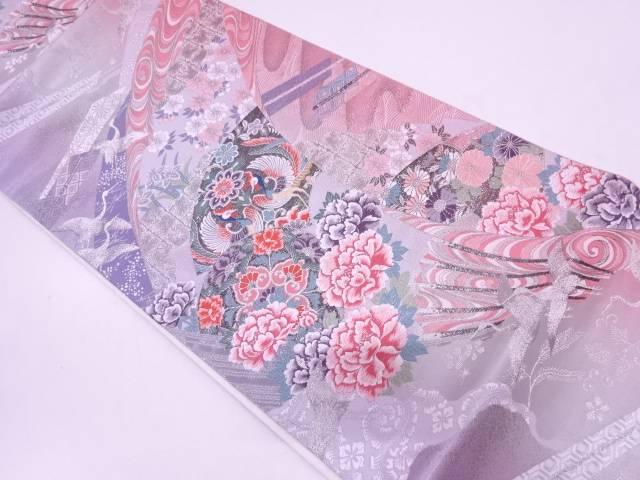 リサイクル 草花に向かい鳳凰・鶴模様織出し袋帯【送料無料】