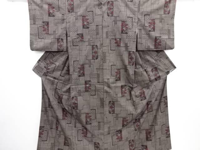 リサイクル 色紙に花模様織り出し本場泥大島紬着物(5マルキ)【送料無料】