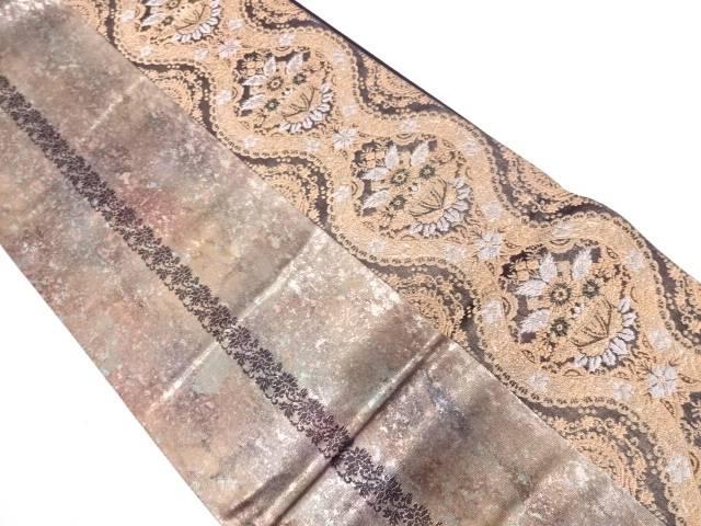 リサイクル 引箔縞に草花模様織出し袋帯【送料無料】