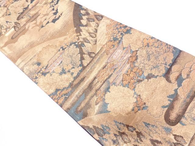 【セール30%オフ】リサイクル 寺院風景模様織出し袋帯【送料無料】