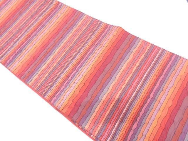 リサイクル 纐纈変わり横段模様織出し袋帯【送料無料】