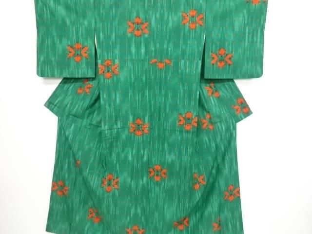 リサイクル 十字絣に花模様織り出し手織り真綿紬着物【送料無料】