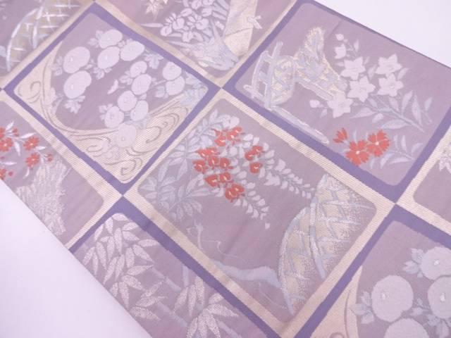 リサイクル 格子に草花模様織出し袋帯【送料無料】