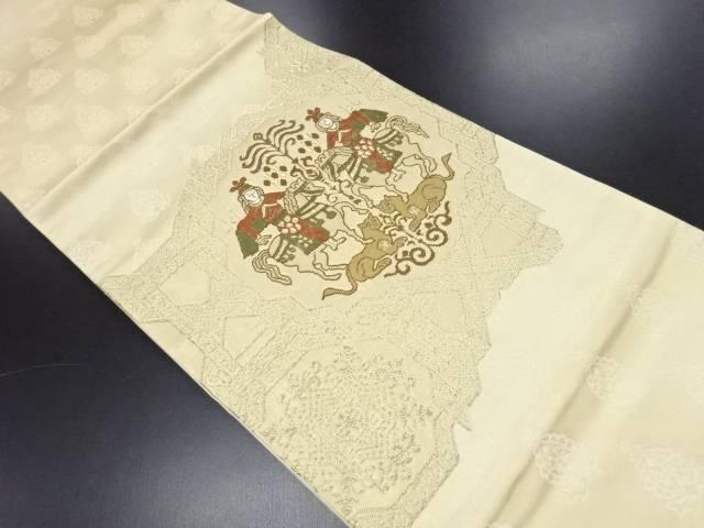 リサイクル 金糸騎馬人物に動物更紗模様織り出し袋帯【送料無料】