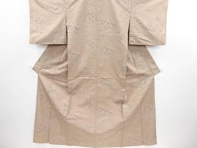 リサイクル 枝花に笹模様織り出し手織り節紬単衣着物【送料無料】