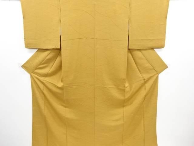 リサイクル 線描き模様織り出し一つ紋色無地着物【送料無料】