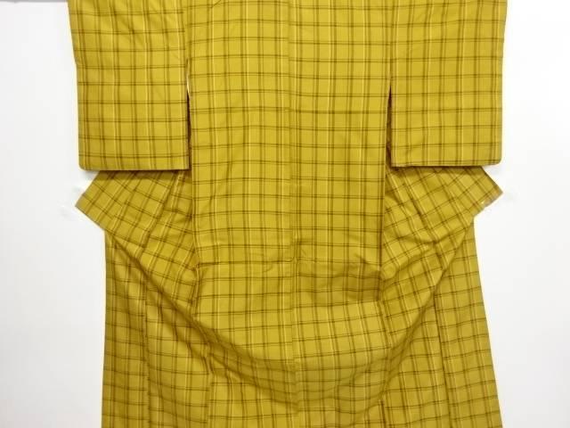 リサイクル 本場黄八丈格子織り出し着物【送料無料】