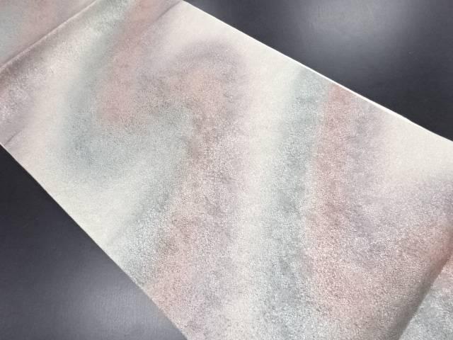 リサイクル 銀糸斜め縞模様織り出し全通袋帯【送料無料】