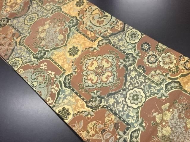 リサイクル 秋草に華紋・花鳥模様織り出し袋帯【送料無料】