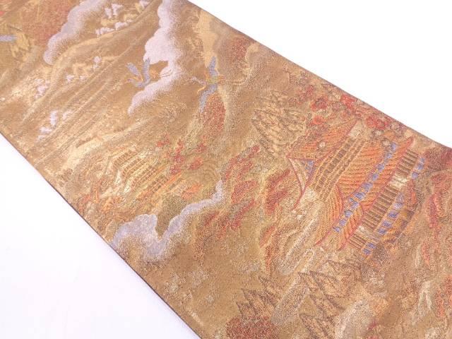 リサイクル 寺院風景模様織出し袋帯【送料無料】