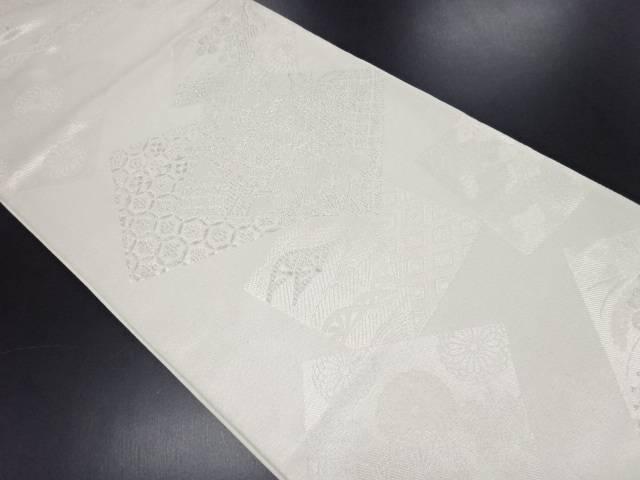 リサイクル 色紙に橋・柳・花古典柄織り出し袋帯【送料無料】
