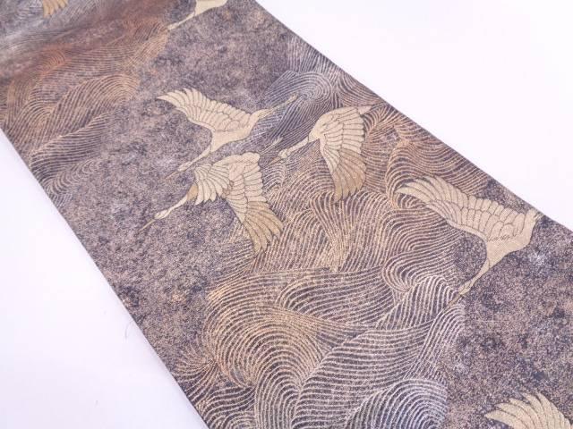 【セール30%オフ】リサイクル 群鶴に波模様織出し袋帯【送料無料】