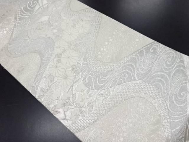 リサイクル 佐賀錦流水に菊桔梗模様織り出し袋帯【送料無料】