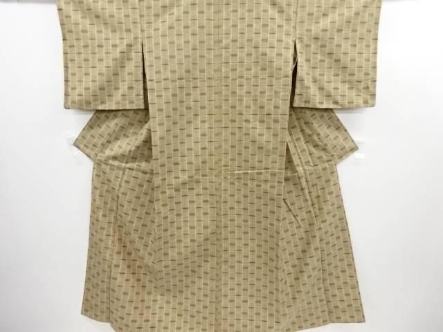 リサイクル 格子織り出し手織り真綿紬単衣着物【送料無料】