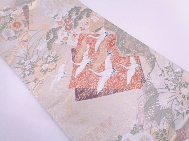 リサイクル 未使用品 色紙に群鶴・草花模様織出し袋帯【送料無料】