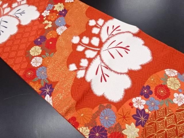 リサイクル 未使用品 金糸 雲に桐菊模様織り出し袋帯【送料無料】