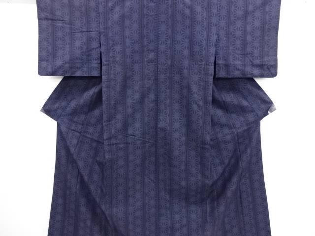 リサイクル 麻の葉模様織り出し本場結城紬80亀甲単衣着物(石下)【送料無料】