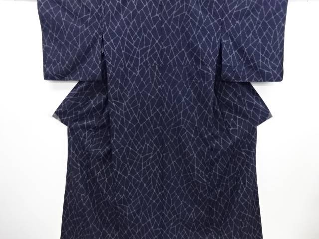 リサイクル 変わり石畳模様織り出し十日町紬単衣着物【送料無料】