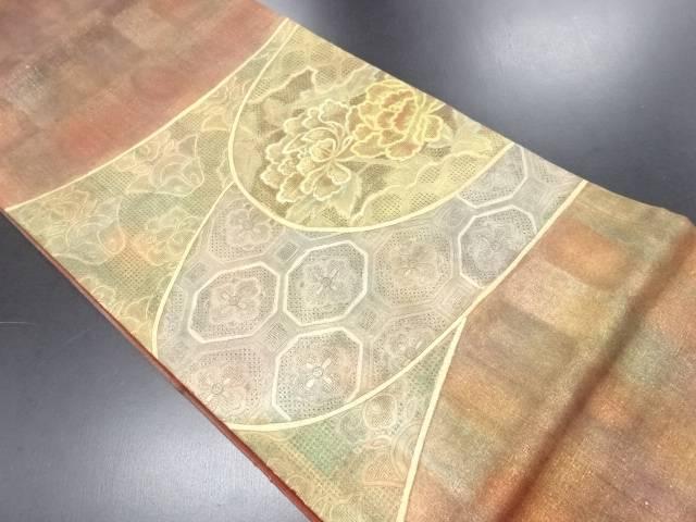 リサイクル 汕頭蘇州刺繍手織り節紬牡丹に花蜀江紋袋帯【送料無料】