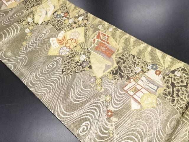 リサイクル 本金地紙に鶴・蝶・御所車模様織り出し袋帯【送料無料】