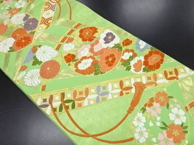 リサイクル 金糸 扇面に花丸紋様織り出し袋帯【送料無料】