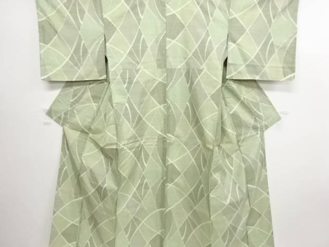 リサイクル 未使用品 抽象模様織り出し本場白大島紬着物(5マルキ)【送料無料】