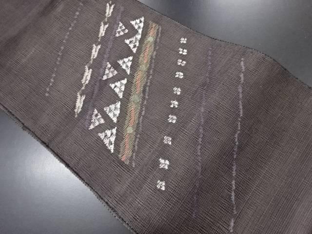 リサイクル 紗斜め縞に幾何学模様織り出し名古屋帯【送料無料】