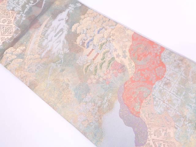 リサイクル 服部織物製 こはく錦寺院風景模様織出し袋帯【送料無料】