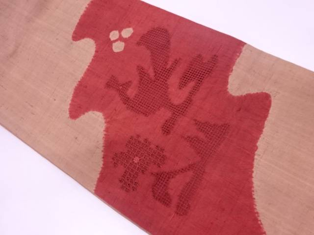 リサイクル 未使用品 生紬絞りカットワーク花鳥模様袋帯【送料無料】