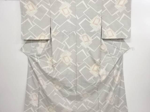 リサイクル 重ね色紙模様織り出し十日町紬着物【送料無料】
