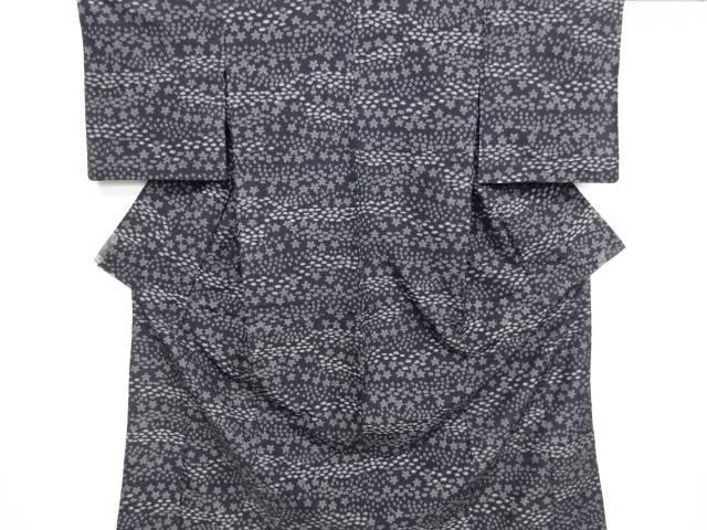 リサイクル 抽象花模様織り出し十日町紬単衣着物【送料無料】