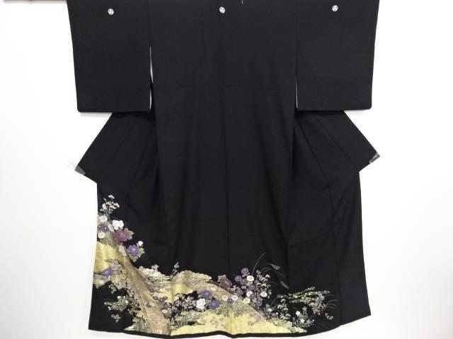 リサイクル 金彩橋に牡丹・秋草・桜模様留袖(比翼付き)【送料無料】