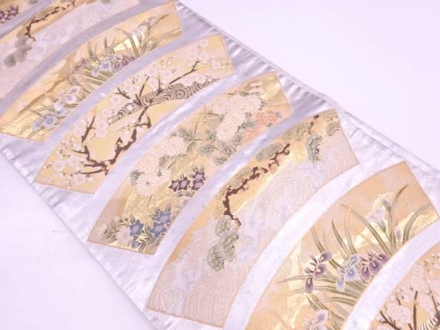 【セール30%オフ】リサイクル プラチナ箔地紙に荒波・草花模様織出し袋帯【送料無料】