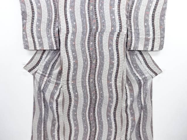 未使用品 仕立て上がり ふくれ織 よろけ横段に梅・菊・古典柄小紋着物【送料無料】