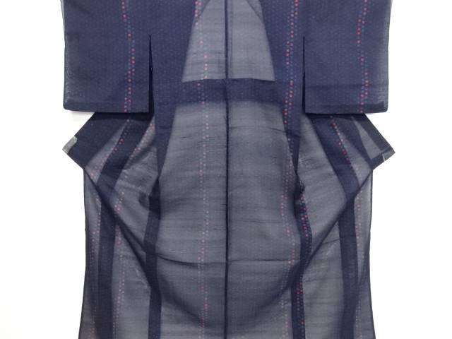 リサイクル 十字に枡模様織り出し夏十日町紬着物【送料無料】