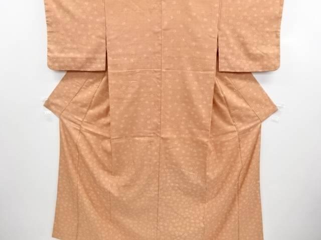 リサイクル 花模様手織り節紬一つ紋付下げ着物【送料無料】