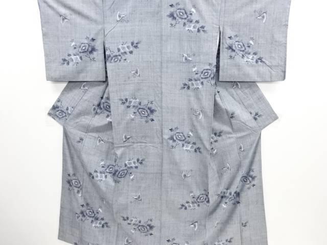 リサイクル 蝶に牡丹模様織り出し手織り真綿小千谷紬着物【送料無料】
