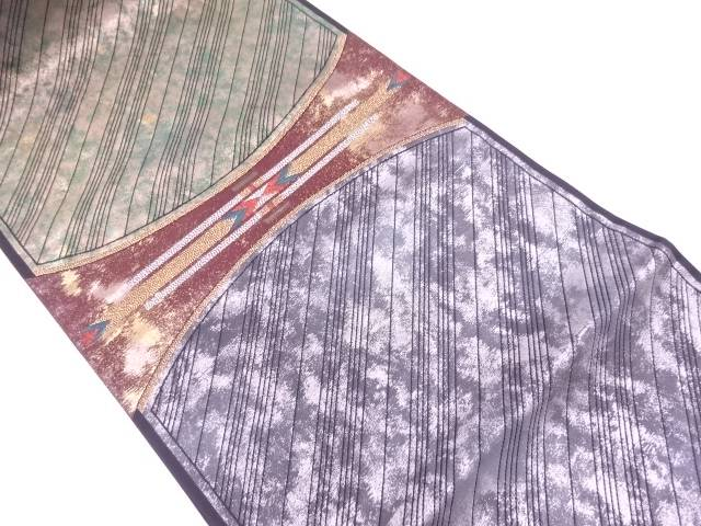 リサイクル 引箔抽象模様織出し袋帯【送料無料】