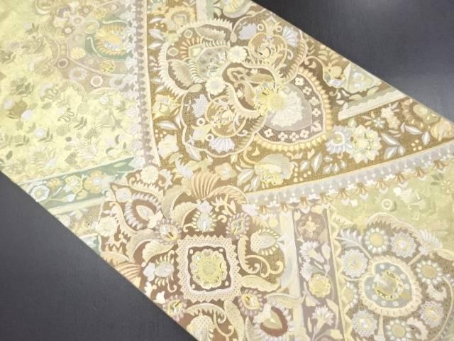 リサイクル 螺鈿 汕頭蘇州刺繍 華紋に花更紗模様袋帯【送料無料】
