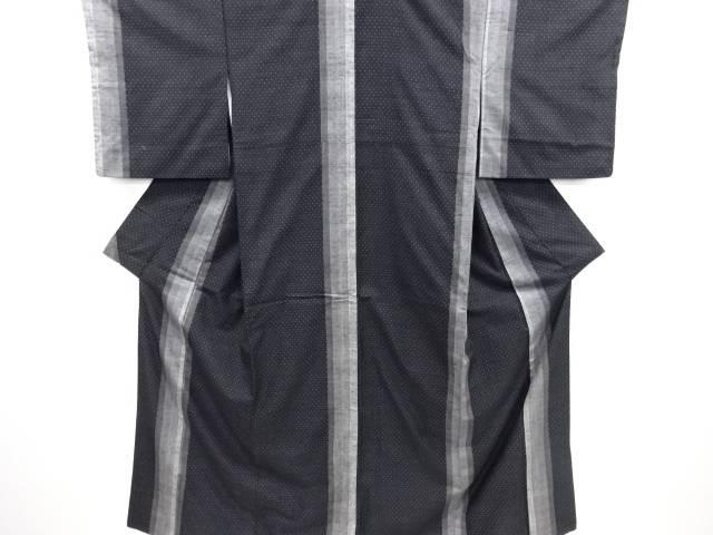 リサイクル 縞に絣柄織り出し手織り節紬着物【送料無料】
