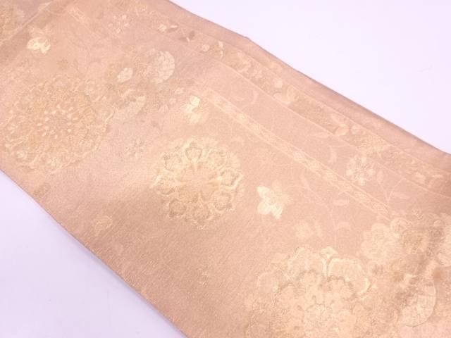 【セール30%オフ】リサイクル 縞に花鳥模様織出し袋帯【送料無料】