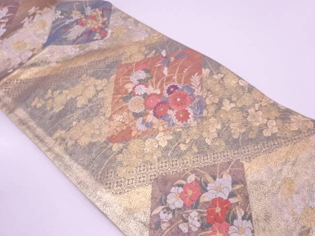 リサイクル 色紙に花鳥模様織出し袋帯【送料無料】