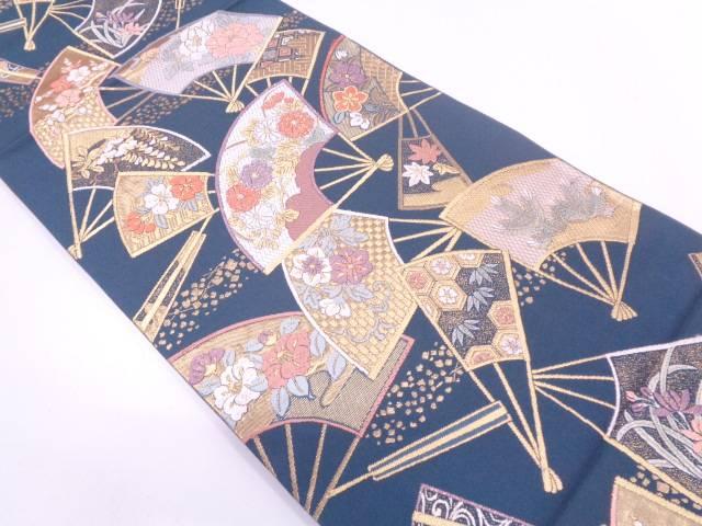 リサイクル 扇面に松竹梅模様織出し袋帯【送料無料】