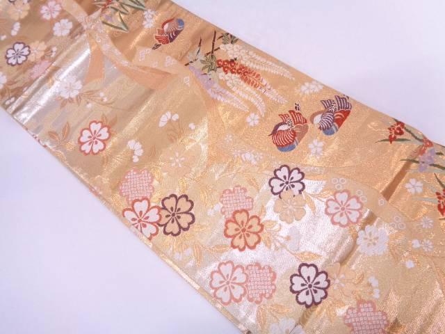 リサイクル 鴛鴦に枝垂れ桜模様織出し袋帯【送料無料】