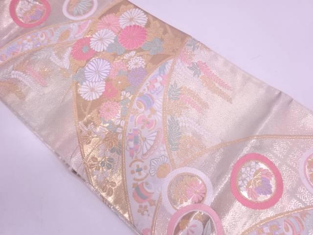 【セール30%オフ】リサイクル 未使用品 純金箔遠山花文織出し袋帯【送料無料】