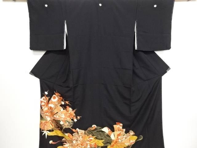リサイクル 束ね熨斗に花・古典柄刺繍留袖(比翼付き)【送料無料】